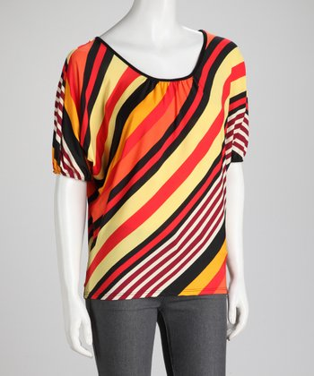 Orange Diagonal Stripe Dolman Top