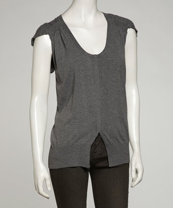Gray Cap-Sleeve Top - Women