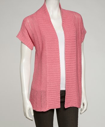 Pink Short-Sleeve Open Cardigan - Women