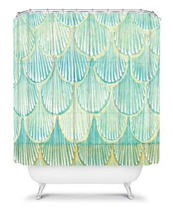 Turquoise Scallop Shower Curtain