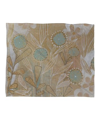 Blue Floral Cori Dantini Fleece Throw Blanket
