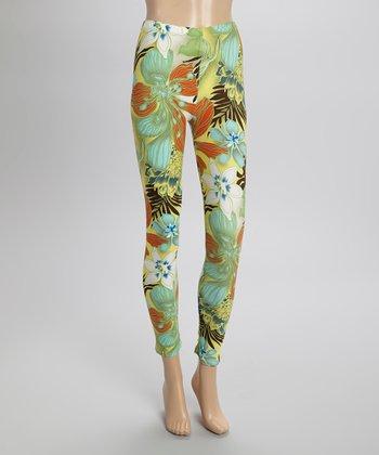 Aqua & Orange Hibiscus Leggings