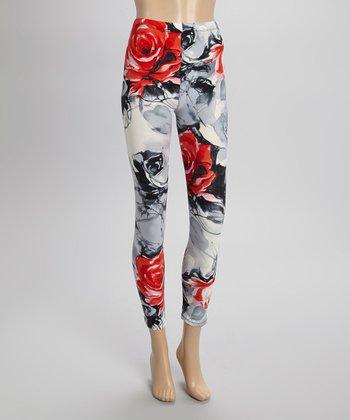 Red & Gray Rose Leggings