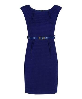 Darling Blue Erin Belted Sheath Dress