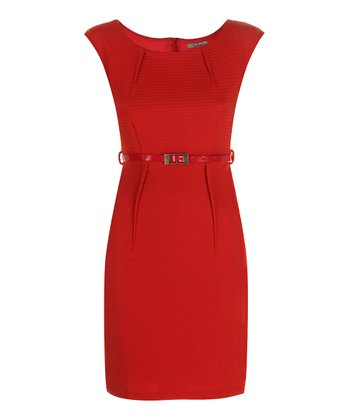Darling Tangerine Erin Belted Sheath Dress
