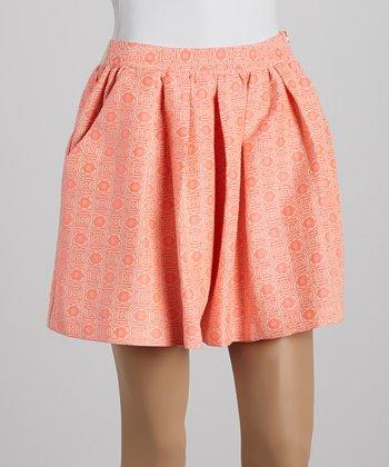 Ju's Orange Pleated Skirt