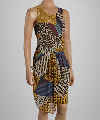 Ju's Yellow Art Sleeveless Dress