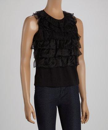 Ju's Black Tier Silk-Blend Yoke Top
