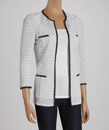 Ju's White & Black Contrast Classic Jacket