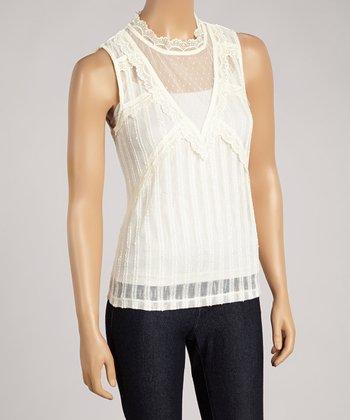 Ju's White Lace Sheer Sleeveless Top