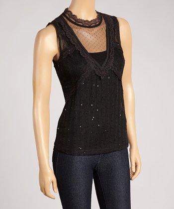 Ju's Black Lace Sheer Sleeveless Top