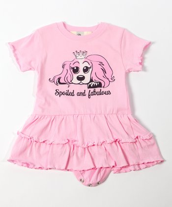Pink 'Spoiled and Fabulous' Ruffle Skirted Bodysuit - Infant