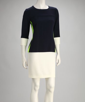 Navy & Ivory Color Block Dress