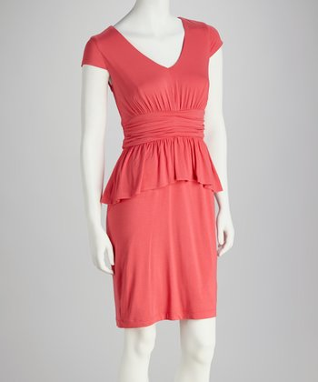 Coral Cap-Sleeve Peplum Dress