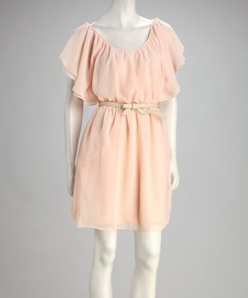 Pale Pink Chiffon Belted Cape-Sleeve Dress