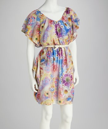 Purple & Yellow Belted Angel-Sleeve Dress