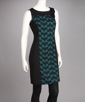 Black & Teal Panel Sleeveless Dress