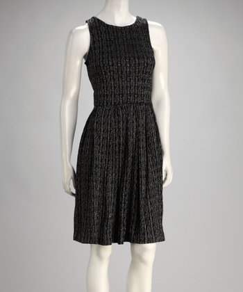 Black & Silver Knit Sleeveless Dress