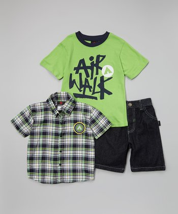Green & Blue 'Airwalk' Plaid Button-Up Set - Infant & Toddler