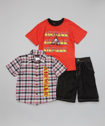 Red & Black 'Airwalk' Plaid Button-Up Set - Toddler