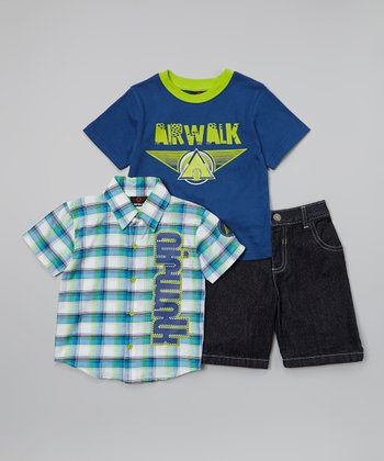 Blue & Green 'Airwalk' Plaid Button-Up Set - Infant & Toddler