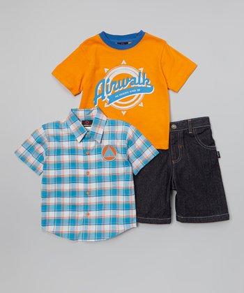 Orange & Blue 'Airwalk' Plaid Button-Up Set - Infant & Toddler