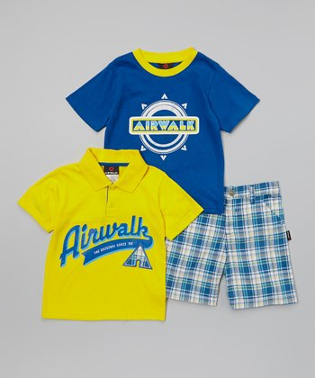 Yellow & Blue 'Airwalk' Polo Set - Infant & Toddler