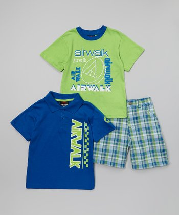Blue & Green 'Airwalk' Polo Set - Infant & Toddler