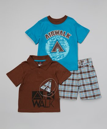 Brown & Blue 'Airwalk' Polo Set - Infant