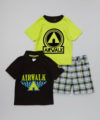 Black & Lime 'Airwalk' Polo Set - Infant