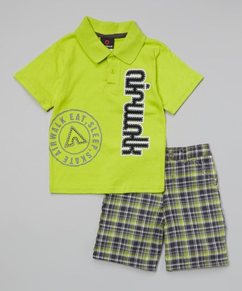 Lime Plaid 'Airwalk' Plaid Polo & Shorts - Infant