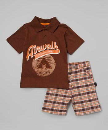 Brown Plaid 'Airwalk' Plaid Polo & Shorts - Infant