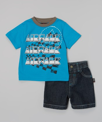Blue 'Airwalk' Tee & Shorts - Infant & Toddler