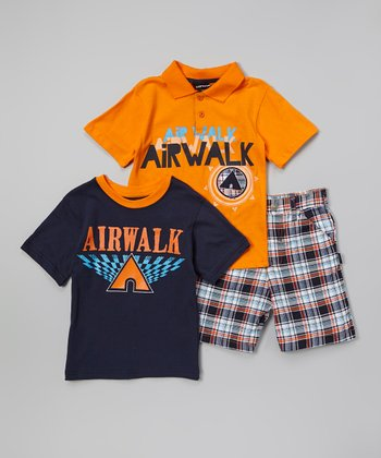 Orange & Blue 'Airwalk' Polo Set - Infant