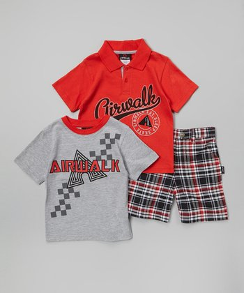 Red & Gray 'Airwalk' Polo Set - Infant