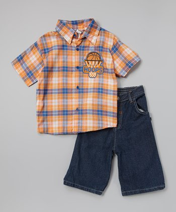 Orange & Blue 'Hoops' Button-Up Set - Toddler & Boys
