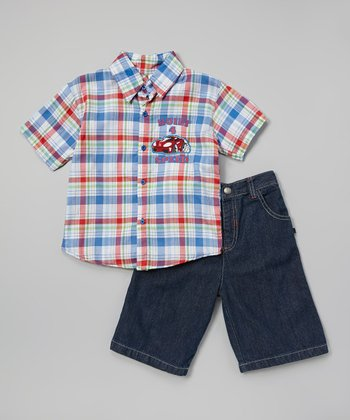 Blue & Red Car Button-Up Set - Toddler & Boys