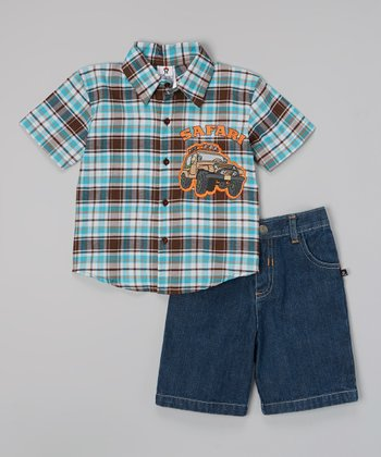 Brown & Blue 'Safari' Button-Up Set - Toddler