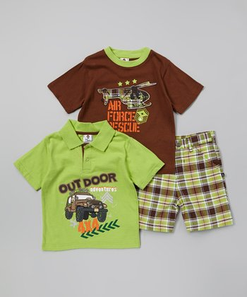 Green & Brown 'Outdoor Adventures' Polo Set - Toddler & Boys