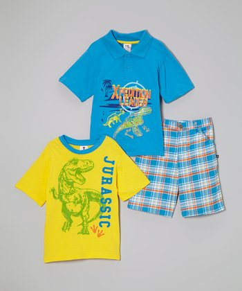Blue & Green 'Xpedition Leader' Polo Set - Toddler & Boys