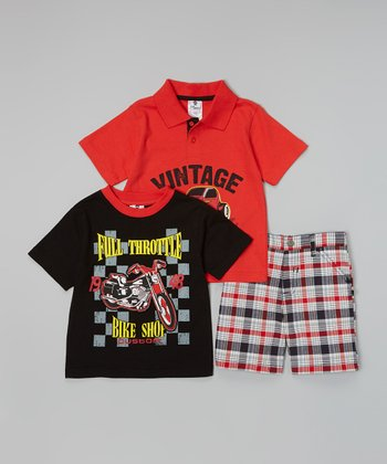 Red & Black 'Vintage' Polo Set - Toddler & Boys