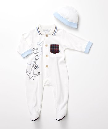 Ivory 'Little Sailor' Footie & Beanie