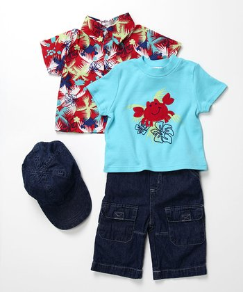 Boys - Red Hawaiian Crab Set