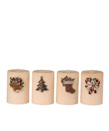 Christmas Candle Pin - Set of Four