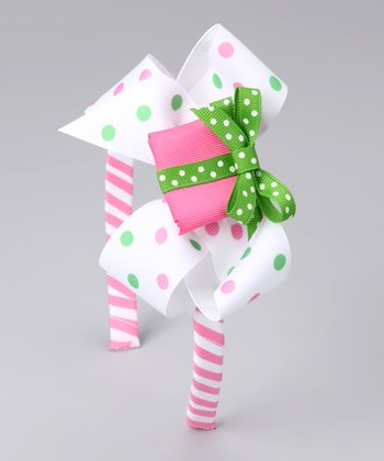 Pink & Green Present Bow Headband Set