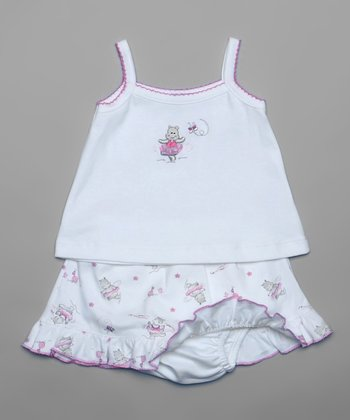 Pink Happy Hippo Camisole & Skirted Diaper Cover - Infant