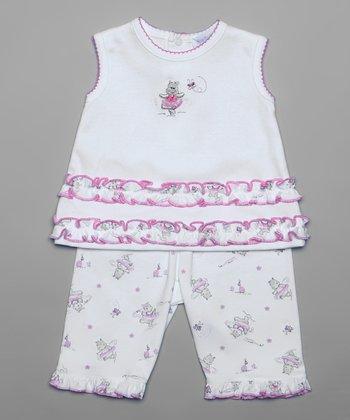 Pink Happy Hippo Tank & Capri Pants - Infant