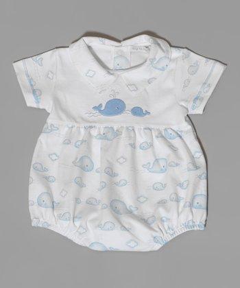 White & Blue Whale Bubble Bodysuit - Infant