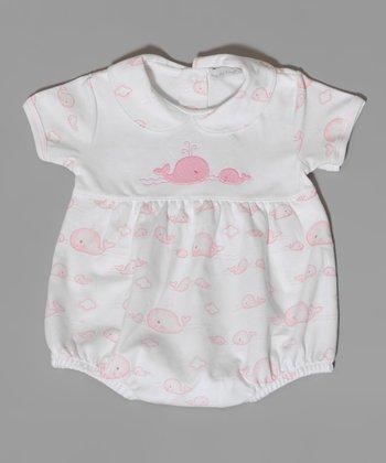 White & Pink Whale Bubble Bodysuit - Infant