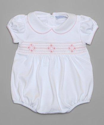 White & Pink Smocked Bubble Bodysuit - Infant
